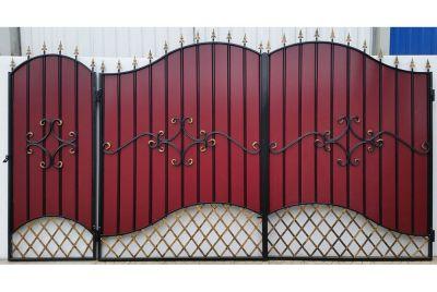 Кованые ворота с профнастилом П-05