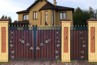 Кованые ворота с профнастилом П-08