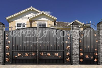 Кованые ворота со стальным листом С-11