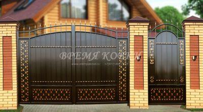 Кованые ворота со стальным листом С-14