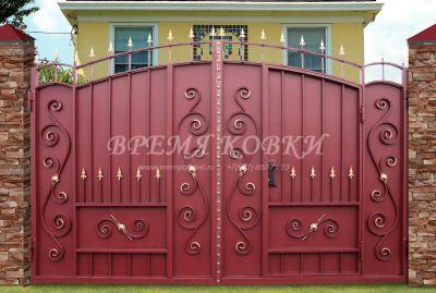 Кованые ворота со стальным листом С-15