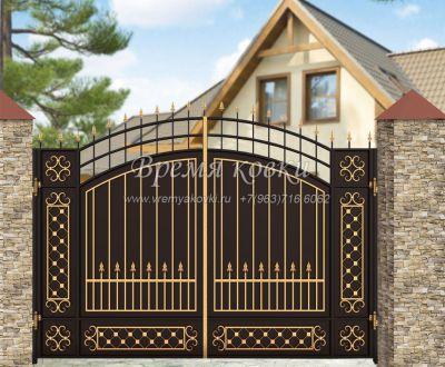 Кованые ворота со стальным листом С-18