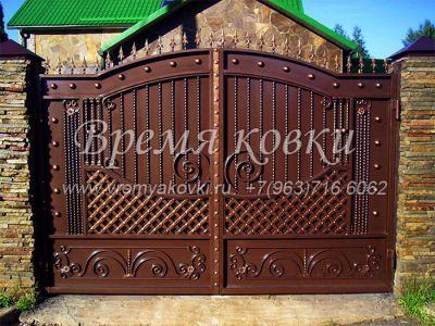 Кованые ворота со стальным листом С-29