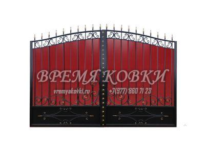 Кованые ворота с профнастилом П-04