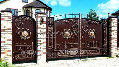Кованые ворота со стальным листом С-19