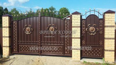 Кованые ворота со стальным листом С-17