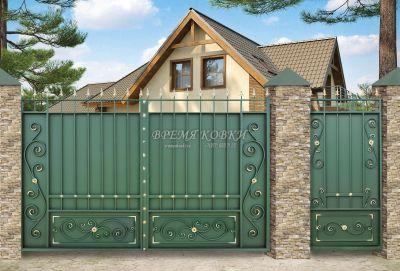 Кованые ворота со стальным листом С-01