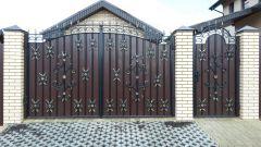 Кованые ворота с профнастилом П-15