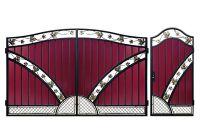 Кованые ворота с профнастилом П-14