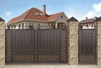 Кованые ворота со стальным листом С-04