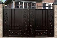 Кованые ворота со стальным листом С-08