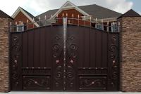 Кованые ворота со стальным листом С-10