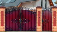 Кованые ворота с профнастилом П-11