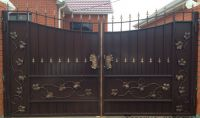 Кованые ворота со стальным листом С-16
