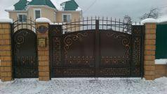 Кованые ворота со стальным листом С-21