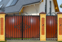 Кованые ворота с профнастилом П-07