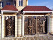 Кованые ворота со стальным листом С-28